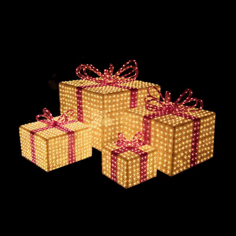 3D Gift Box Crystal Sculpture Motif