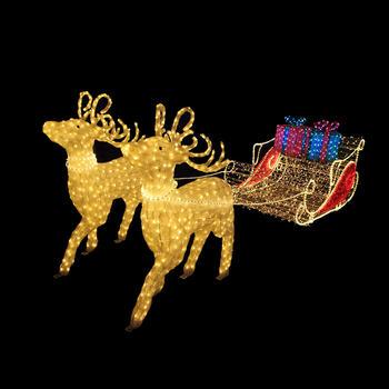 3D Reindeer Sleigh Crystal Sculpture Motif